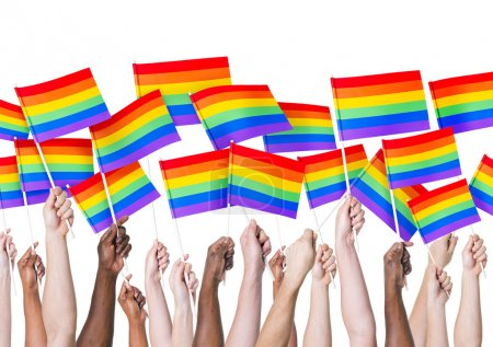 People's hands holding LGBT Flags