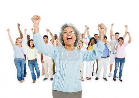 People with their Arms Raised