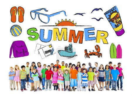 Multiethnic Group of Children with Summer Concept