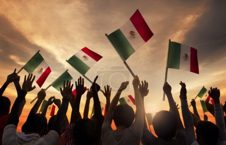 People Holding National Flags of Mexico