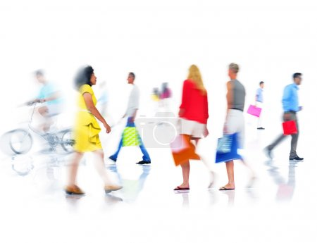 Group of Busy People Shopping