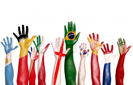 Flags Drawn on Raised Hands