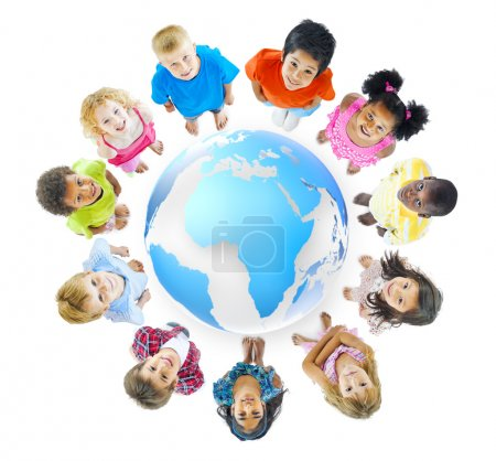 Photo for Group of Children Standing Around - Royalty Free Image
