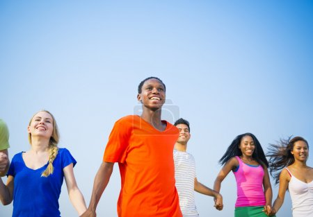 Young people running