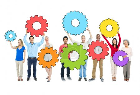 Group of People Holding Gears