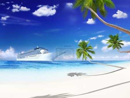Cruise liner with palm trees