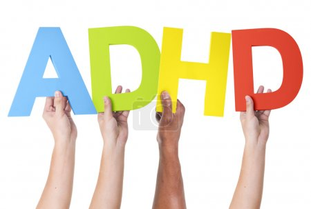Multiethnic Arms Holding letters ADHD