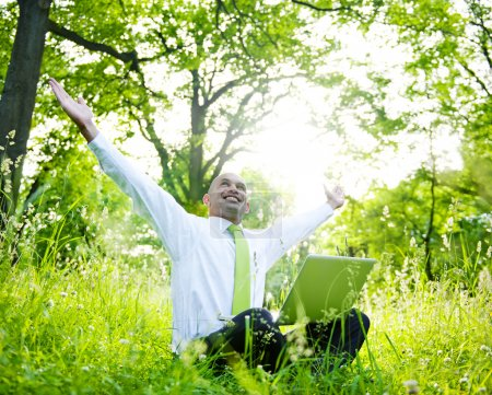 Businessman sitting in forest with laptop