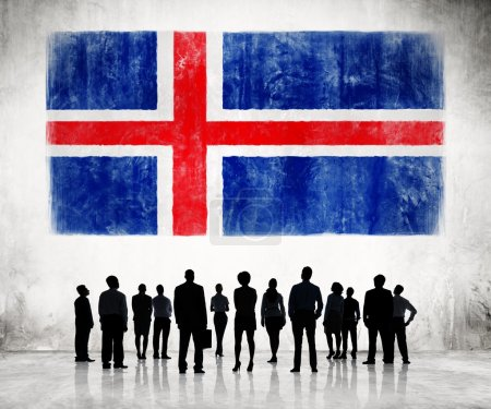 Business People and Flag of Iceland