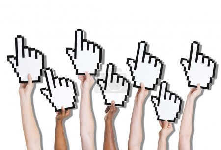 People's hands holding Click signs