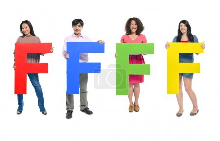 People holding letter 'F'