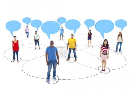 Connected Multi-Ethnic People with Empty Speech Bubbles Above