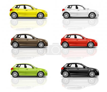 Multicolored New Modern Cars