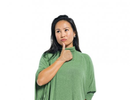 Casual Asian Woman Thinking
