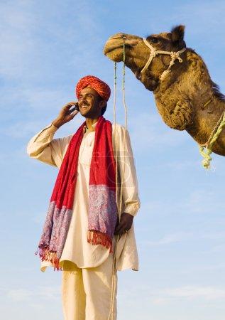 Indigenous Indian man making call