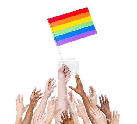 Human hand holding LGBT Flag