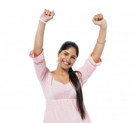 Cheerful Casual Young Woman Celebrating