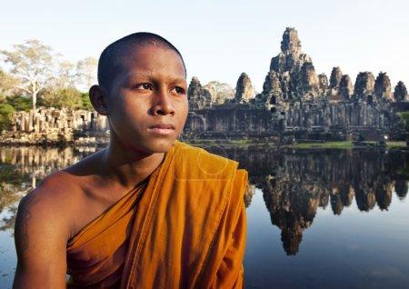 Contemplating Monk in Cambodia