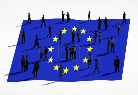European union flag and business people