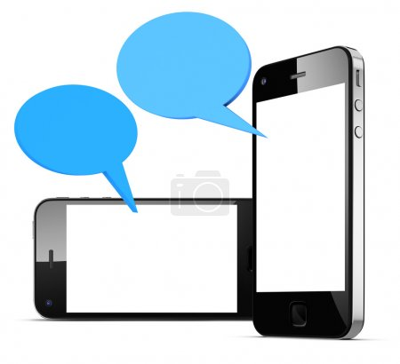 Speech bubbles with smart phones