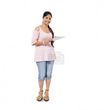 Casual Woman Holding Digital Tablet