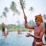 Traditional stilt fishermen in Sri Lanka....