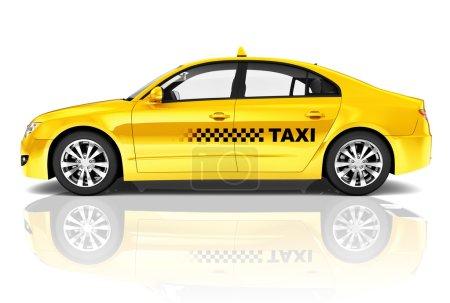 Yellow Sedan Taxi Car
