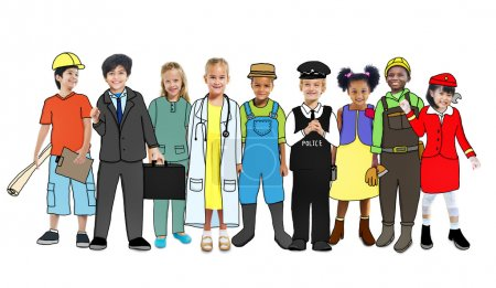 Children with Various Occupations Concept