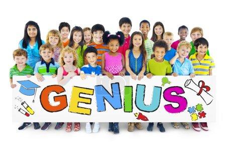 Children holding word Genius