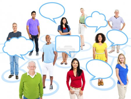 People Standing With Empty Speech Bubbles