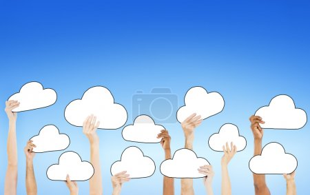 Hands Holding Empty Cloud Symbols