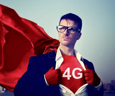 Superhero Businessman with 4G symbol