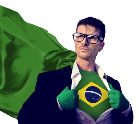 Businessman Superhero with Brazil Flag