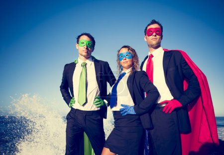 Business superheroes facing storm