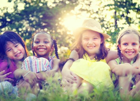 Little Girls Smiling in the Park
