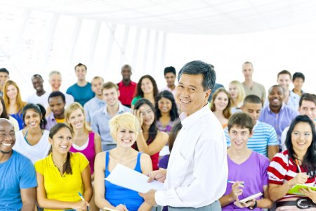 Teacher and large group of student