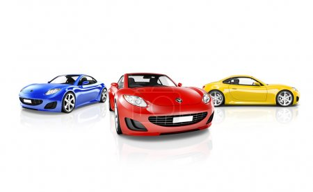 Red Blue and Yellow Sport Cars