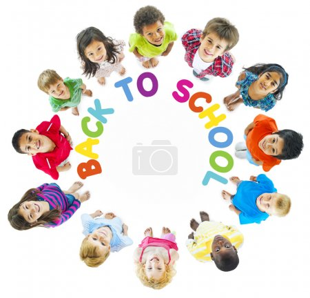 Kids looking up standing in circle