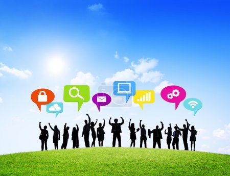 Group of Business Successful With Speech Bubbles