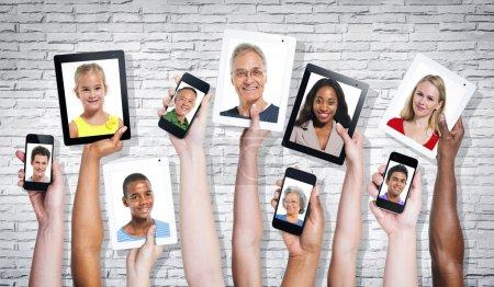 Multi-ethnical people in visual screen