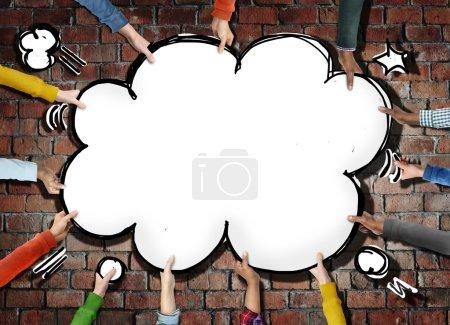 Hands Holding Comic Cloud