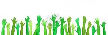 Green Environmental Hands Raised