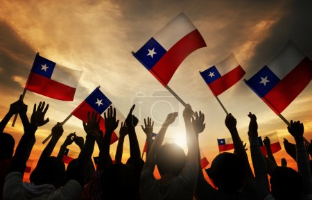 People Holding Flags of Chile