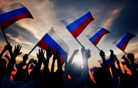People Holding Flags of Russia