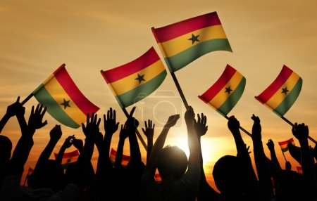 People Holding Flags of Ghana