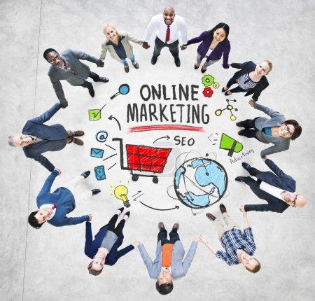 Diverse people around Online Marketing