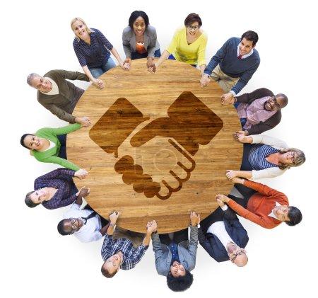 People with Handshake Symbol