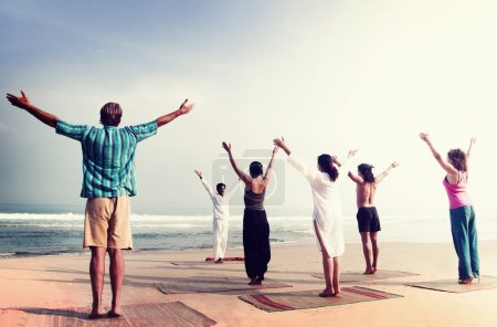 Yoga Wellbeing Exercise at Beach