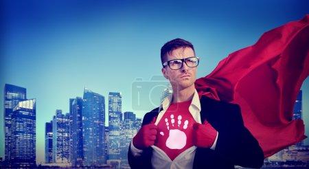 Superhero with Stop Warning