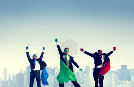 Superhero Businessmen Jumping